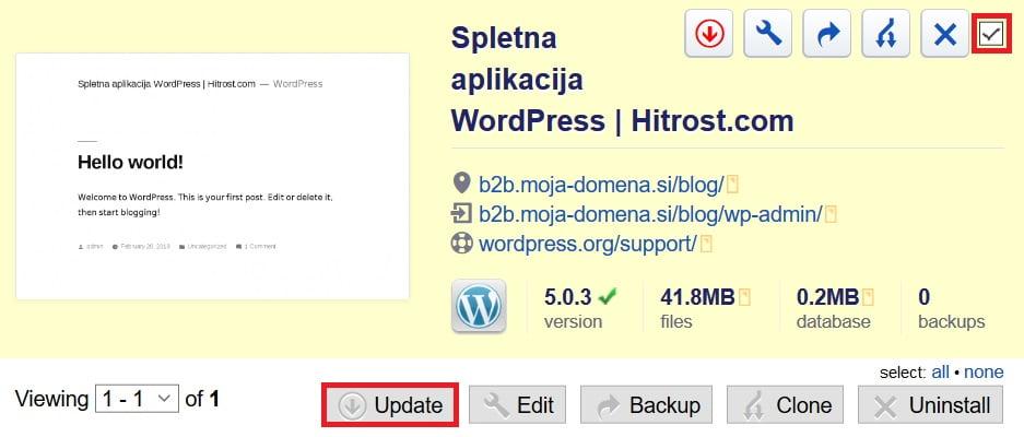 WordPress posodobitev wordpress